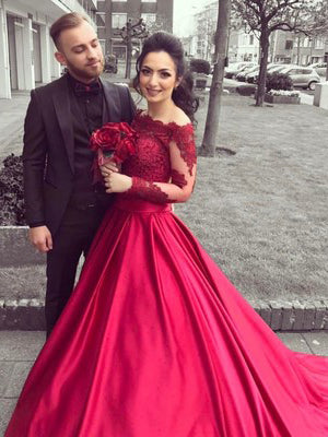 2018 A-line Prom Dresses Off Shoulder Burgundy Long Sleeve Prom Dress Evening Dresses AMY439