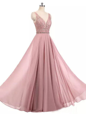 2018 A-line Prom Dresses V neck Beading Modest Prom Dress Evening Dresses AMY440