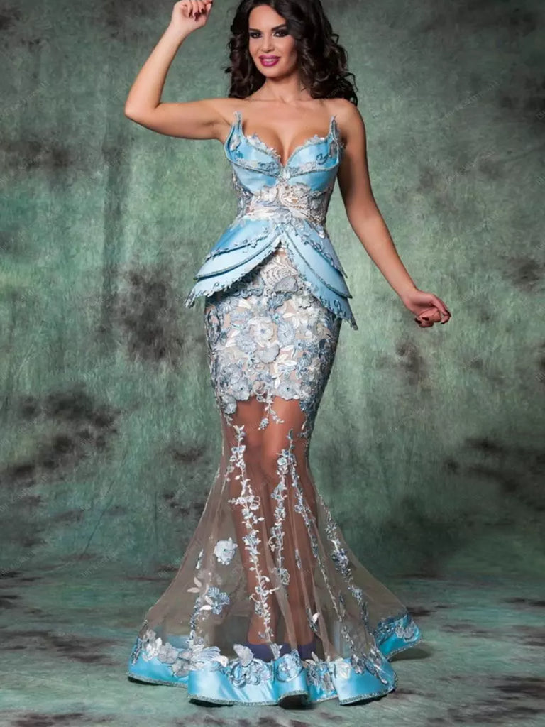2018 Mermaid Prom Dresses Sweetheart Blue Modest Long Prom Dress Evening Dresses AMY442