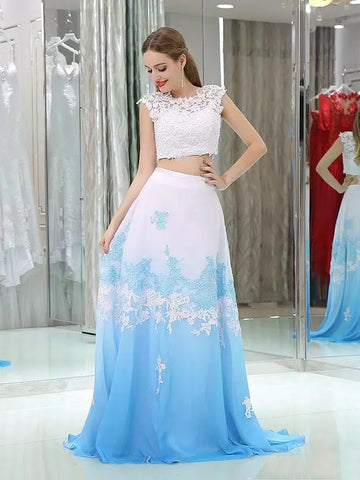 2018 Two Pieces Prom Dresses A-line Scoop Blue Applique Long Prom Dress Evening Dresses AMY443