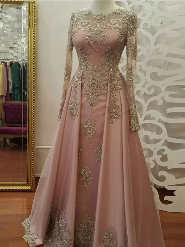 2018 A-line Prom Dresses Scoop Long Sleeve Pink Applique Long Prom Dress Evening Dresses AMY444