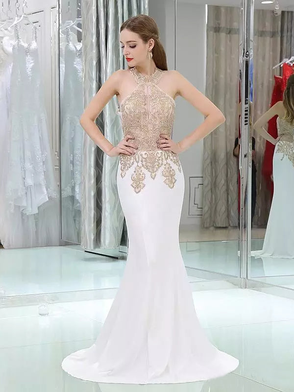 2018 Mermaid Prom Dresses Scoop Floor Length Beading Cheap Prom Dress Evening Dresses AMY447