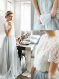 Two Pieces Prom Dresses A-line Scoop Tulle Lace Long Prom Dress Evening Dresses AMY449