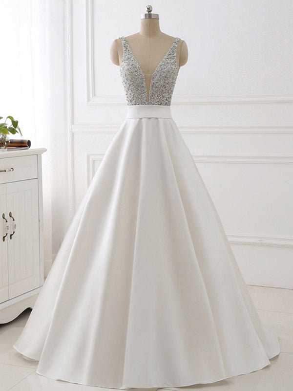 2018 A-line Prom Dresses V neck White Rhinestone Long Prom Dress Evening Dresses AMY454