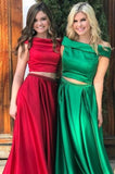 Two Pieces Prom Dresses A-line  Off-the-shoulder Simple Long Prom Dress Evening Dresses AMY457