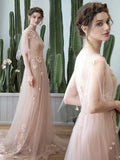 2018 A-line Long Prom Dresses Bateau Tulle Modest Prom Dress Evening Dresses AMY460