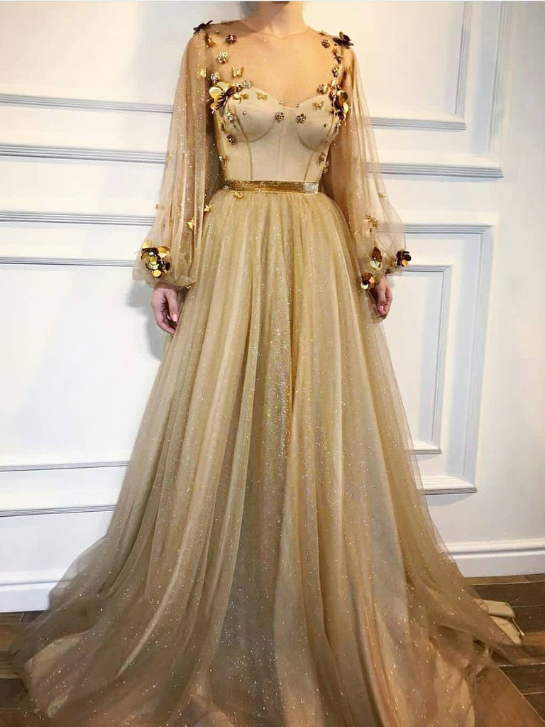 2018 Chic A-line Scoop Prom Dresses With Sleeve Gold Long Prom Dress Evening Dresses AMY506