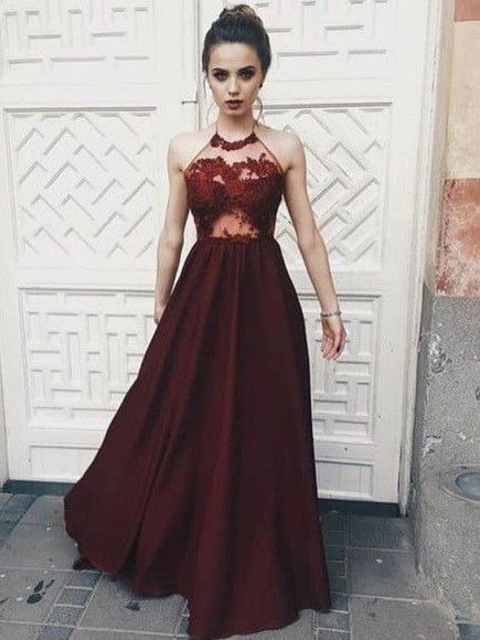 2018 Chic A-line Spaghetti Straps Prom Dresses Burgundy Long Prom Dress Evening Dresses AMY507