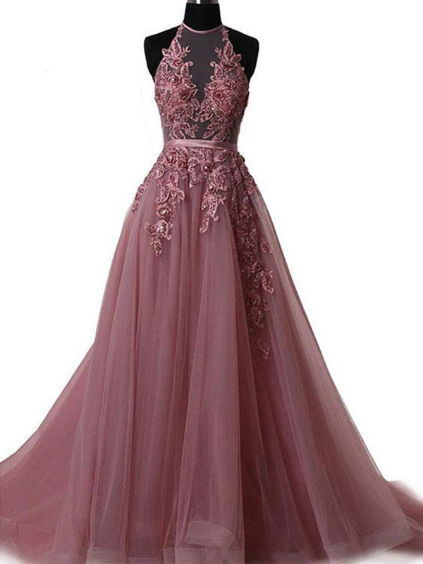 2018 A-line Prom Dresses Spaghetti Straps Applique Prom Dress Evening Dresses AMY510