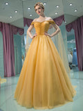 2018 A-line Prom Dresses Off-the-shoulder Modest Prom Dress Evening Dresses AMY512