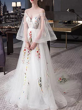 2018 Chic A-line Prom Dresses Spaghetti Straps White Long Prom Dress Evening Dresses AMY516