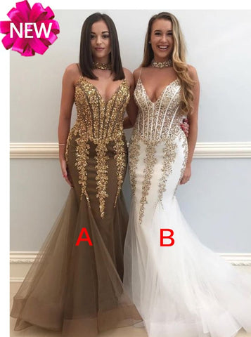2018 Chic Trumpet/Mermaid Prom Dresses Beading Long Prom Dress Evening Dresses AMY520