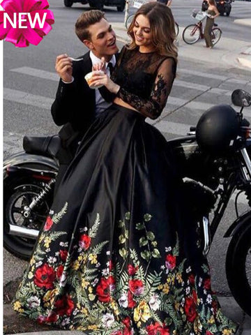 2018 Chic Two Pieces Prom Dresses Black Lace Long Prom Dress Evening Dresses AMY523
