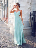 2018 Chic A-line Prom Dresses Spaghetti Straps Chiffon Long Prom Dress Evening Dresses AMY524