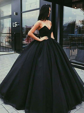 2018 Chic Ball Gowns Prom Dresses Black Strapless Long Prom Dress Evening Dresses AMY525