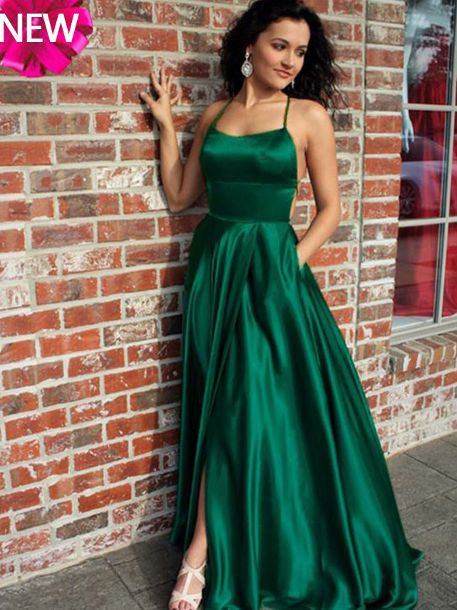 2018 Chic A-line Prom Dresses Hunter Spaghetti Straps Long Prom Dress Evening Dresses AMY526