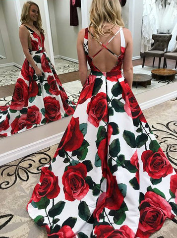 2018 Chic A-line Prom Dresses Straps Floral Long Prom Dress Evening Dresses AMY528