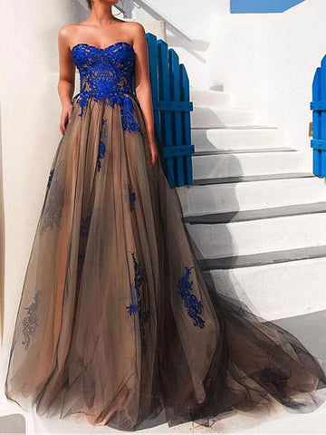 2018 A-line Prom Dresses Sweetheart Royal Blue Modest Prom Dress Evening Dresses AMY531