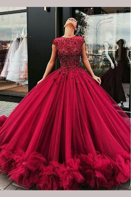 2018 Chic Ball Gowns Prom Dresses Scoop Burgundy Long Prom