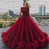 2018 Chic Ball Gowns Prom Dresses Scoop Burgundy Long Prom Dress Evening Dresses AMY535