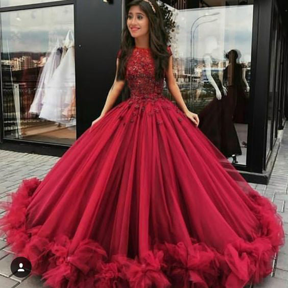 b774fd13c8d63 ... 2018 Chic Ball Gowns Prom Dresses Scoop Burgundy Long Prom Dress  Evening Dresses AMY535 ...
