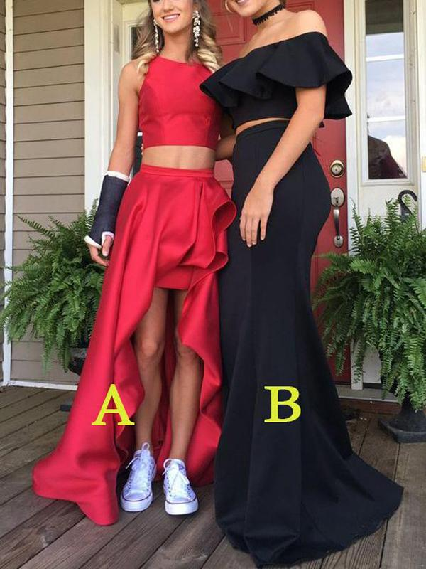 2018 Chic Two Pieces Prom Dresses Asymmetrical Satin Long Prom Dress Evening Dresses AMY537