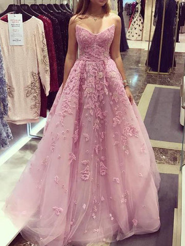 2018 Chic A line Prom Dresses Strapless Pink Long Prom Dress Evening Dresses AMY538
