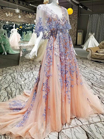 2018 Chic A line Prom Dresses V neck Half Sleeve Long Prom Dress Evening Dresses AMY539