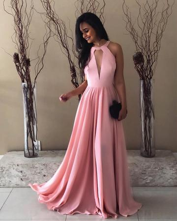 2018 Chic A line Prom Dresses Scoop Pink Long Prom Dress Evening Dresses AMY549