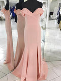 2018 Chic Mermaid Prom Dresses Off-the-shoulder Simple Long Prom Dress Evening Dresses AMY550