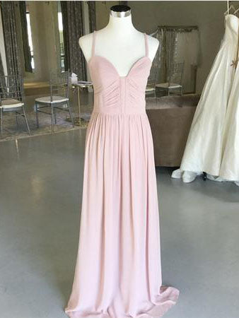 2018 Chic A line Prom Dresses Spaghetti Straps Pink Long Prom Dress Evening Dresses AMY551
