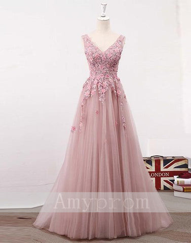2018 Chic A-line Prom Dresses V neck Pink Long Prom Dress Evening Dresses AMY555
