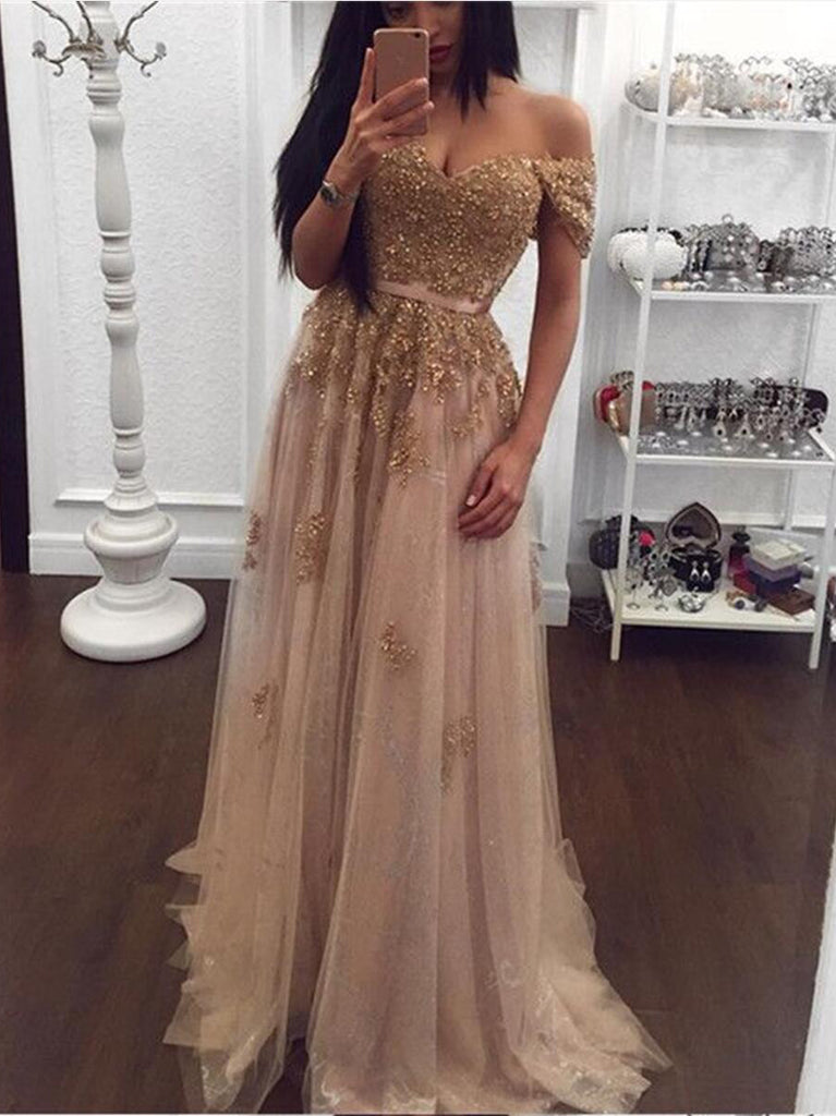2018 A-line Long Prom Dresses Off-the-shoulder Elegant Prom Dresses Evening Dresses|Amyprom.com