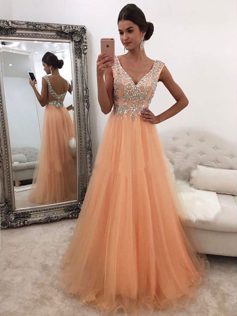 2018 A-line Prom Dresses V neck Beading Long Prom Dress Evening Dresses AMY570