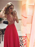 2018 Chic A-line Prom Dresses V neck Long Prom Dress Evening Dresses AMY571
