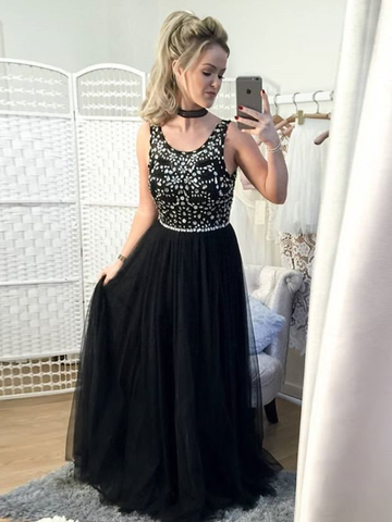 2018 Chic A-line Prom Dresses Black Scoop Long Prom Dress Evening Dresses AMY573