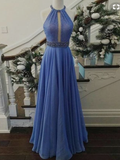 2018 A-line Prom Dresses Halter Chiffon Long Prom Dress Evening Dresses AMY576