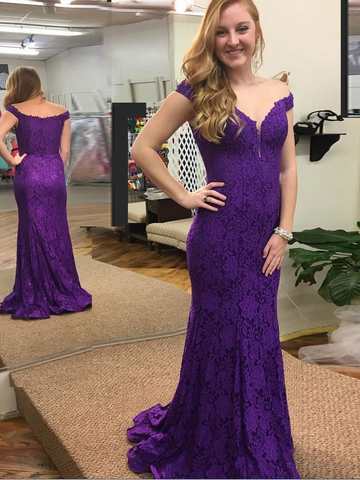 2018 Mermaid Prom Dresses Off-the-shoulder Grape Long Prom Dress Evening Dresses AMY578