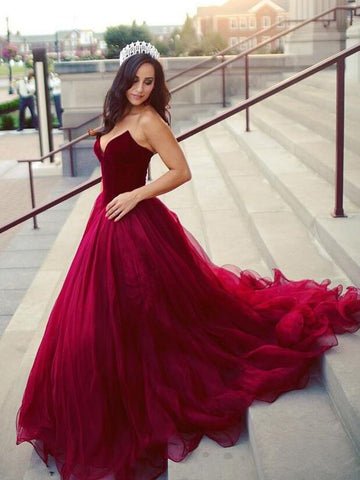 Burgundy Prom Dress Strapless Tulle Graduacion Elegant Long Prom Dresses/Evening Dress AMY583