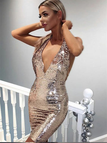 Chic Sexy Sheath/Column Short Prom Dress With Sequins Short Prom Dresses Cocktail Dress AMY584