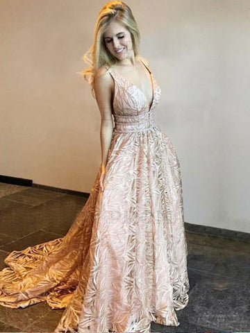 2018 A-line Pink Floor Length Straps Elegant Prom Dresses Long Evening Dresses AMY585