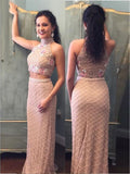2018 Two Pieces High Neck Floor Length Pearl Pink Elegant Prom Dresses Long Evening Dresses AMY588