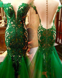 2018 Chic Trumpet/Mermaid Prom Dresses Hunter Beading Long Prom Dress Evening Dresses AMY589