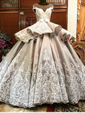 2018 Ball Gown Scoop Floor Length Silver Elegant Prom Dresses Long Evening Dresses AMY591