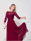 2018 Chic A-line Prom Dresses Fuchsia Lace Long Prom Dress Evening Dresses AMY592