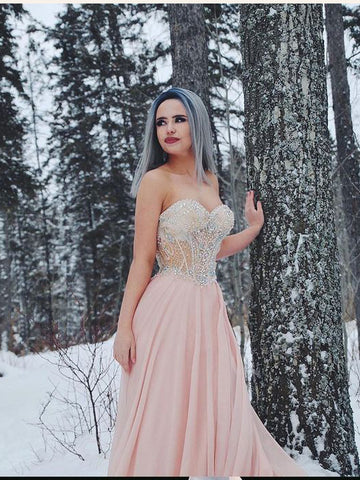 2018 A-line Prom Dresses Sweetheart Elegant Long Prom Dress Evening Dresses|Amyprom.com