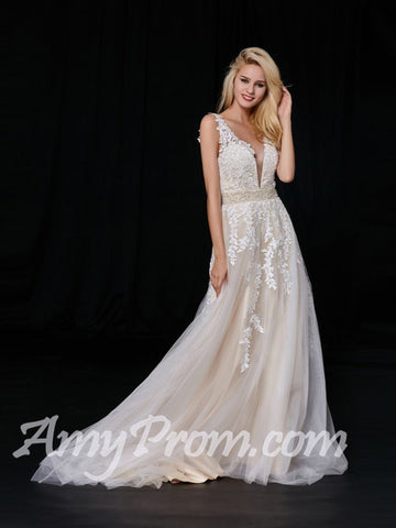 2018 Chic A-line Prom Dresses Ivory Applique Long Prom Dress Evening Dresses AMY595