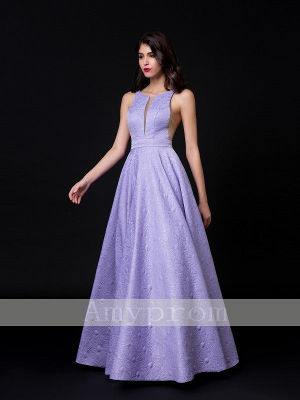 2018 A-line Scoop Floor Length Lavender Prom Dresses Long Evening Dresses AMY598