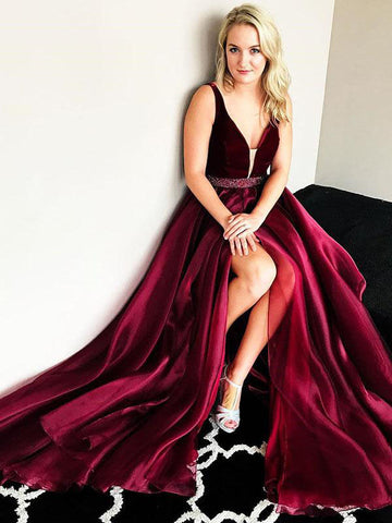 2018 A-line Prom Dresses Burgundy Elegant Long Prom Dress Evening Dresses|Amyprom.com