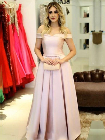 Pink Prom Dresses A-line Off-the-shoulder Simple Prom Dress/Evening Dress|Amyprom